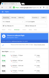 Google Flights search screen