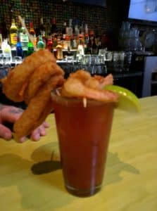 Bloody Caesar topped with fried foods