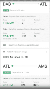 Google Now card for my flights
