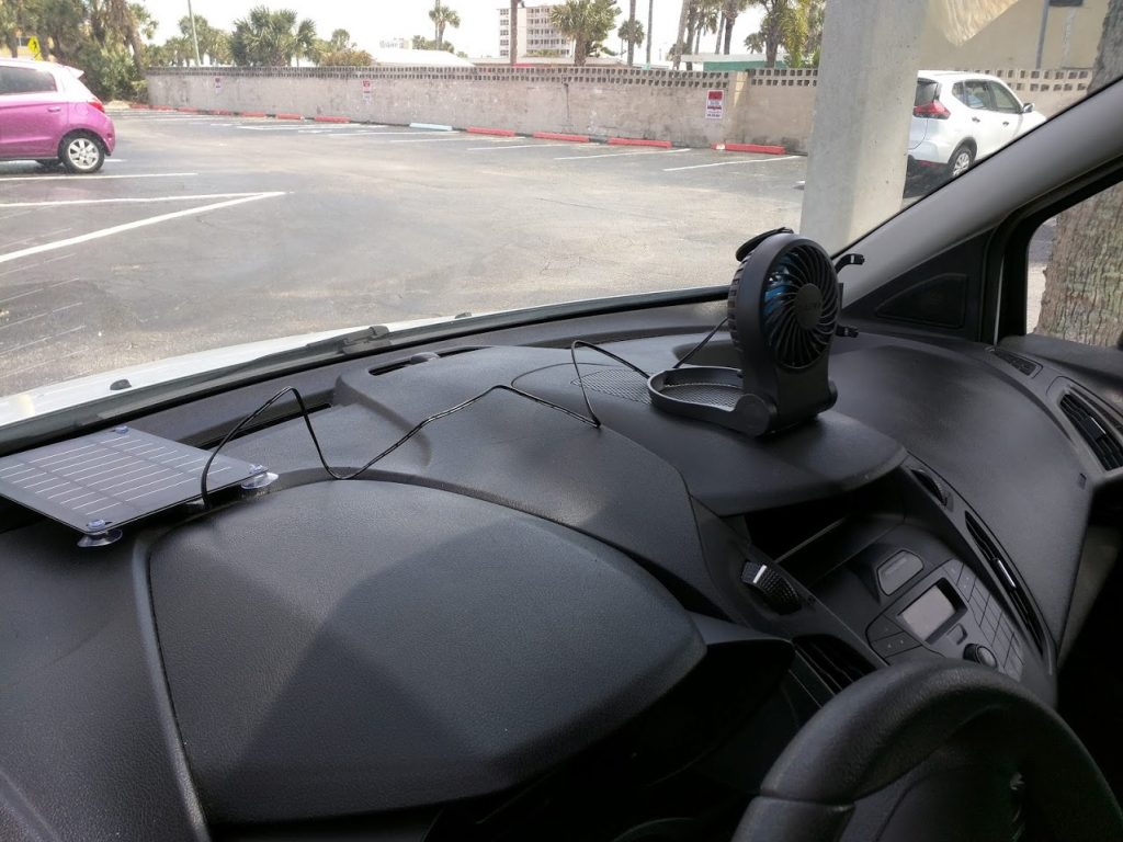 5W solar panel and small fan in a van