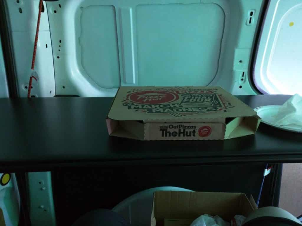 Pizza for first vanlife meal